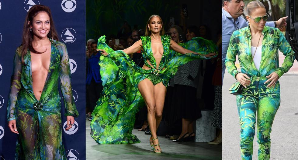 La historia de Jennifer Lopez con el estampado jungla de Versace tiene más de 20 años de vigencia. Conócela en esta galería. (Fotos: AFP/ IG)