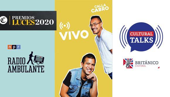 """Algunos de los programas que compiten en la categoría son """"Radio Ambulante"""", """"Calla Cabro"""" y """"Cultural Talks"""". (Foto: Logo de Radio Ambulante, Calla Cabro/Instagram y Logo de Cultural Talks/Británico)"""