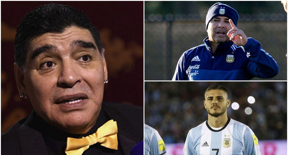 """Diego Maradona llamó """"traicionero"""" al entrenador de la selección argentina y futbolista """"bochornoso"""" a Mauro Icardi. El otrora '10' explicó los motivos de sus polémicas declaraciones. (Foto: AFP)"""