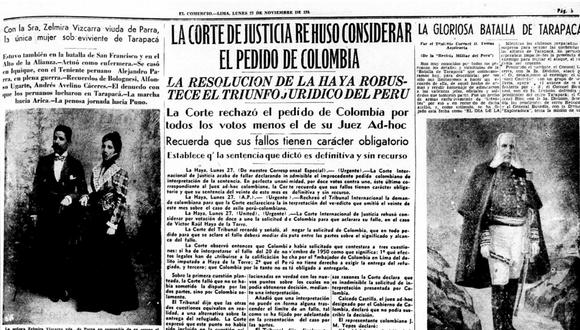 La señora Zelmira Vizcarra viuda De Parra en compañía de su esposo el Capitán Alejandro Parra. (Archivo El Comercio)