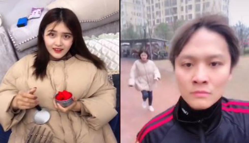 En el video de Facebook, se ve a la mujer que está feliz por su regalo de cumpleaños, pero al final se da cuenta que cayó en una cruel broma. (Foto: Facebook)
