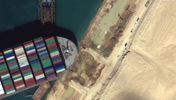 Imagen de satélite muestra a remolcadores y dragas intentando liberar el MV Ever Given, encallado en el Canal de Suez. (Foto: AFP).