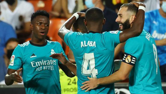 Real Madrid se llevó el triunfo contra el Valencia en el Mestalla y es líder de LaLiga.   Foto: AFP