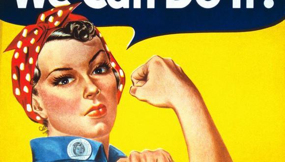 """""""Rosie, la remachadora"""" se convirtió en un símbolo de la fortaleza de la mujer durante la Segunda Guerra Mundial y desde entonces ha sido reinterpretada mundialmente como símbolo del empoderamiento femenino. (Foto: Dominio Público, vía BBC Mundo)."""