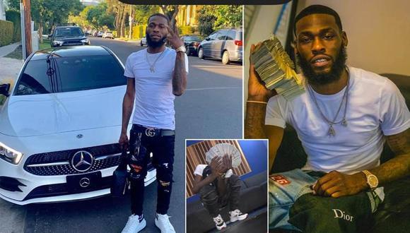 En varias publicaciones se ve al hombre de 29 años posando junto a grandes cantidades de dinero en efectivo y frente a su auto nuevo.  (Fotos: Facebook)