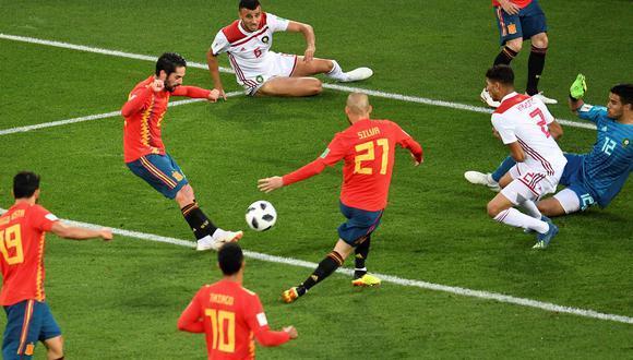 Isco, volante de España, se asoció perfectamente con Andrés Iniesta y Diego Costa para sellar el empate parcial ante una envalentonada Marruecos, por la última fecha de la fase de grupos. (Foto: AFP)
