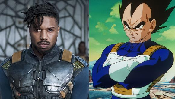 "De izq. a der., Michael B. Jordan como Killmonger en ""Black Panther"" y Vegeta de ""Dragon Ball Z"". No pocos han señalado la similitud entre el atuendo de ambos personajes. Fotos: Marvel/ Toei."