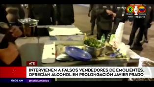 Detienen a falsos emolienteros que vendían bebidas alcohólicas en Ate