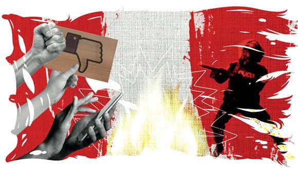 """""""Ahora la capacidad de registrar desde el celular, de circular por Internet y de vigilar en colectivo ha sido transferida a la población civil"""". (Ilustración: Raúl Rodríguez)"""