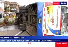 Jesús María: 12 heridos tras volcadura de bus en la avenida Brasil