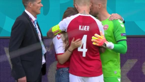 Christian Eriksen se desplomó en medio del partido de Eurocopa 2021. (Foto:  Directv Sports)