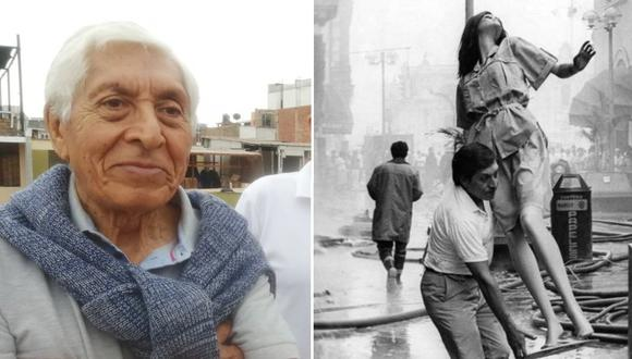 Izquierda: Víctor Lecca en la actualidad, en una foto de su archivo familiar. Derecha: Lecca en 1986, en pleno rescate de uno de los maniquíes que adornaban la tienda Moderna S.A., donde trabajaba en aquella época.