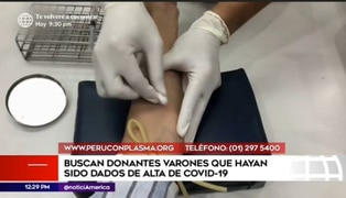 """""""Perú con plasma"""" busca donantes varones que hayan vencido al COVID-19"""