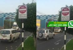 La Molina: no respetan señal de tránsito en vía de un sentido