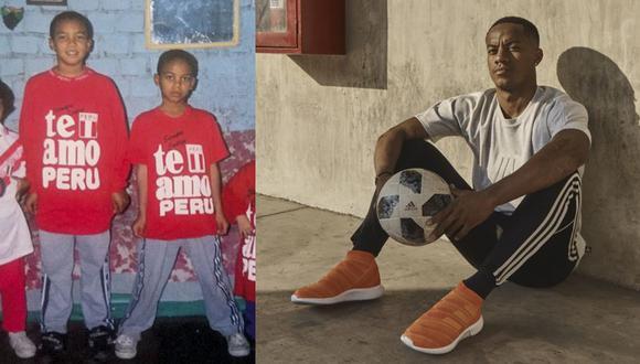 André Carrillo, ayer y hoy. A la izquierda, con su hermano Alex, también futbolista. A la derecha, embajador adidas en Perú. El delantero del Al-Hilal de Arabia Saudita es el goleador de la selección en las Eliminatorias Qatar 2022. FOTOS: Archivo familiar / adidas.