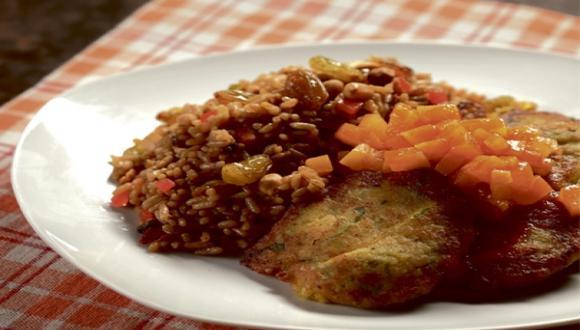 Croquetas de garbanzo con arroz y chutney