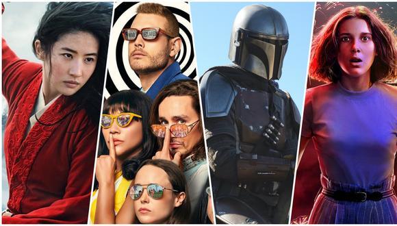"""De izquierda a derecha """"Mulan"""" (Disney+), """"The Umbrella Academy"""" (Netflix), """"The Mandalorian"""" (Disney+) y """"Stranger Things"""" (Netflix). Contenidos exclusivos y, al mismo tiempo, armas para mantenerse en la cima de la guerra por el streaming. Fotos: Netflix/ Disney."""