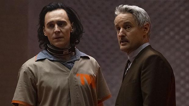 "Tom Hiddleston and Owen Wilson in a scene from ""Loki"" from Disney Plus."