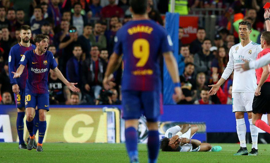 Barcelona vs. Real Madrid: Sergi Roberto agredió a Marcelo y fue expulsado. (Foto: AFP)