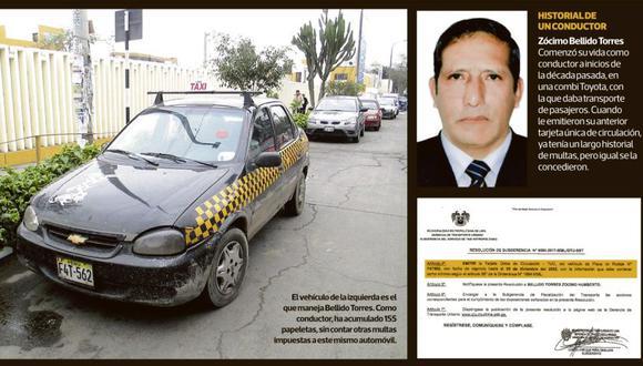 El vehículo de la izquierda es el que maneja Bellido Torres. Como conductor, ha acumulado 155 papeletas, sin contar otras multas impuestas a este mismo automóvil. (El Comercio)