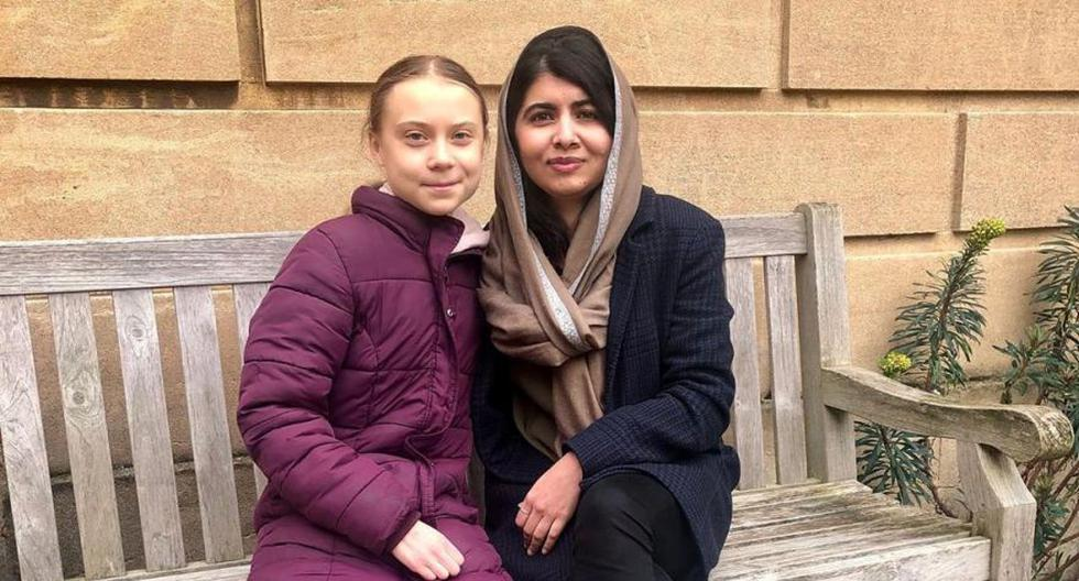La activista ambiental sueca Greta Thunberg se encuentra con la ganadora del Premio Nobel de la Paz Malala Yousafzai en la Universidad de Oxford en Oxford, Gran Bretaña. (Foto: Reuters).