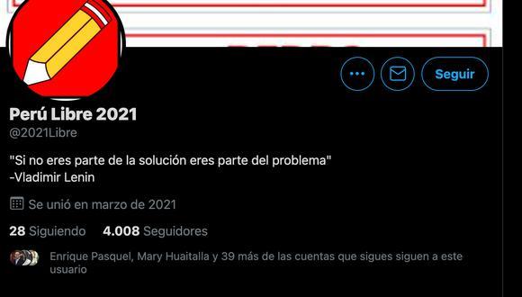 Fuentes de Perú Libre indicaron a El Comercio que no tienen cuenta oficial de Twitter.