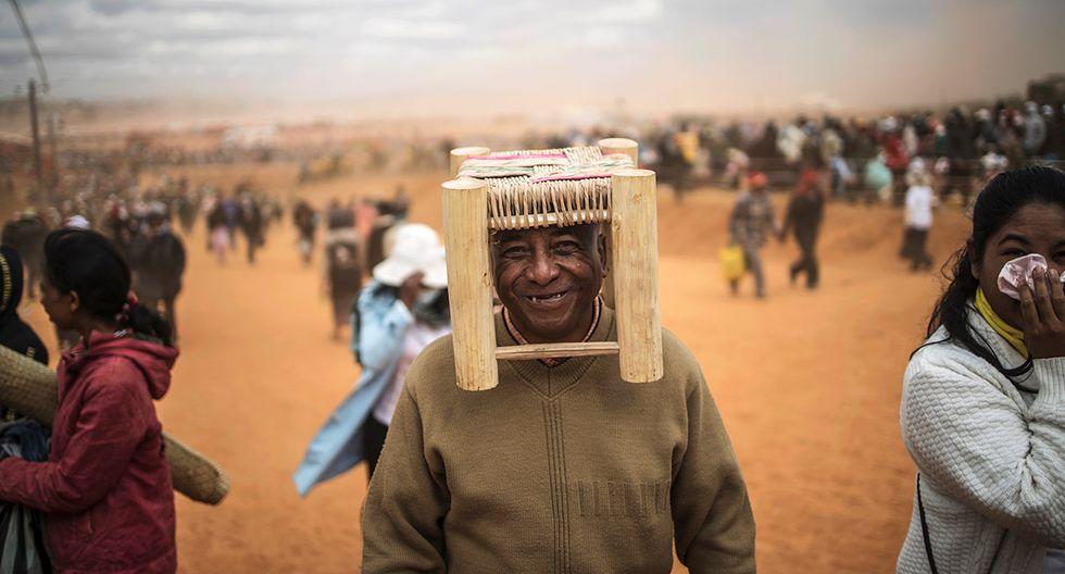 La visita del papa Francisco a Madagascar generó gran expectativa y el ingenio quedó al descubierto para celebrar esta jornada de fe. (Foto: AFP)