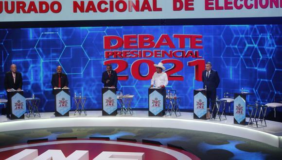 La segunda jornada del debate del JNE se realizó solo con cinco candidatos. José Vega, de UPP, abandonó la polémica al inicio. (Foto: Mario Zapata Nieto   GEC)