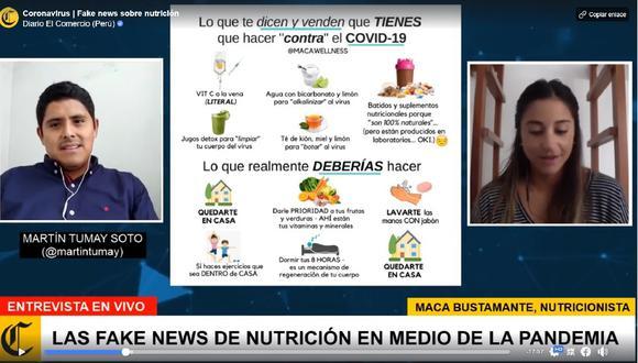 La nutricionista Maca Bustamante desmonta algunas mentiras que circulan en redes sociales sobre la alimentación en medio de la pandemia. (Foto: Captura de Facebok)
