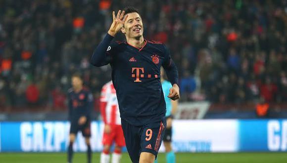 Robert Lewandowski marcó cuatro goles en la victoria (6-0) del Bayern Múnich ante Estrella Roja por la Champions League. (Foto: AFP)