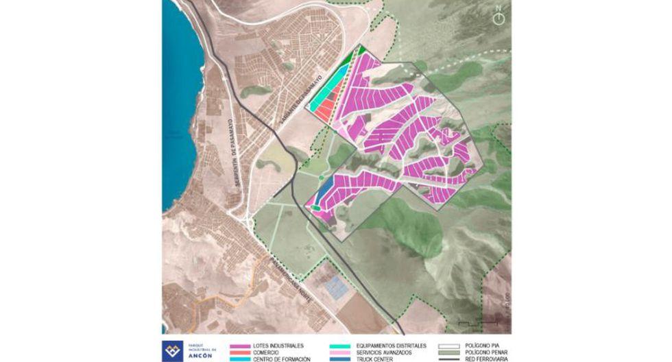 Mapa del parque Industrial de Ancón (Lima). (Foto: Captura)