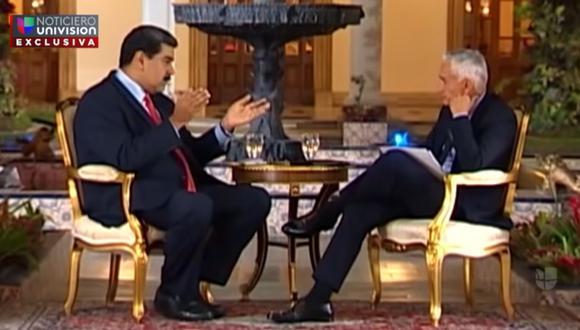 Captura de video del encuentro entre el periodista Jorge Ramos y Nicolás Maduro, el 25 de febrero de 2019, en Venezuela. (Univisión - YouTube).