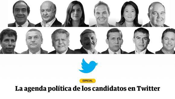 El Comercio analizó los tweets de los candidatos en Twitter desde noviembre hasta marzo. (Composición: El Comercio)