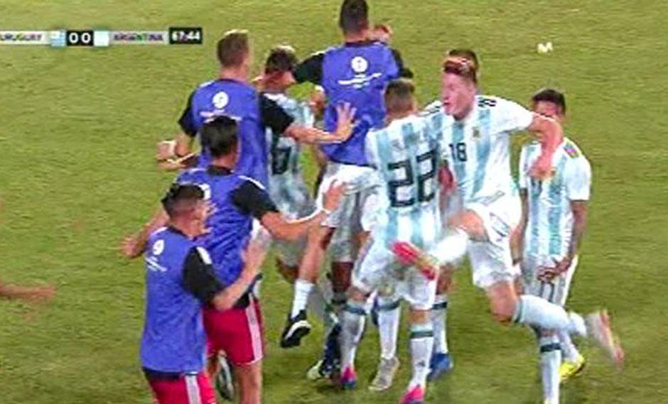 Argentina vs. Uruguay: así fue el gol de Maroni para el 1-0 de la Albiceleste. (Foto: captura)