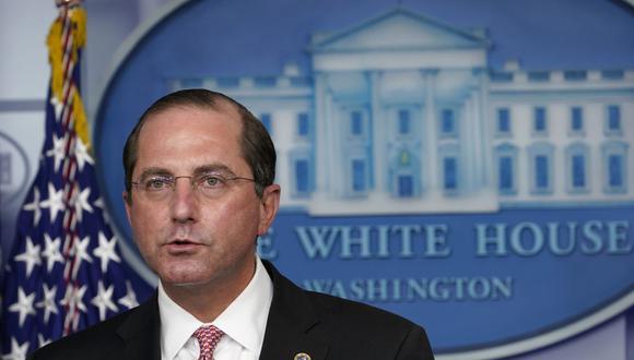 El secretario de Salud y Servicios Humanos de Estados Unidos, Alex Azar, habla durante una conferencia de prensa con el grupo de trabajo sobre el coronavirus en la Casa Blanca en Washington. (Foto de archivo: AP)