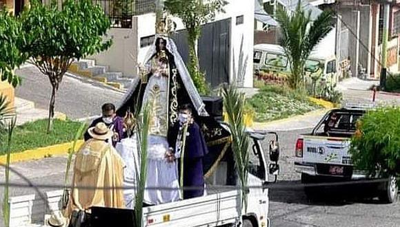 Arequipa. Sacaron en procesión a la Virgen de Chapi a pesar de la inmovilización nacional obligatoria. (GEC)