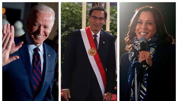 El mandatario felicitó a los electos Biden y Harris, quienes asumirán la presidencia y vicepresidencia, respectivamente, de Estados Unidos. (Fotos: AP/Piero Vargas/AFP)