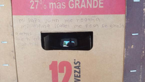 Esta fotografía dio inicio a la búsqueda de la pequeña Camila. La Fiscalía del Estado también trabaja para hallar a la persona que escribió el mensaje. | Foto: Astrid Martinez Ayala