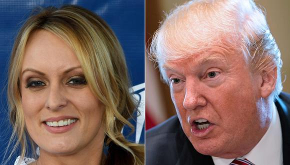 El mandatario de Estados Unidos, Donald Trump, y la actriz porno, Stormy Daniels. (AFP).