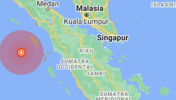 El Servicio Geológico de Estados Unidos (USGS) localizó el hipocentro del seísmo a unos 255,2 kilómetros al sur de la ciudad de Sinabang y a 10 kilómetros de profundidad.(Foto: Google Maps).
