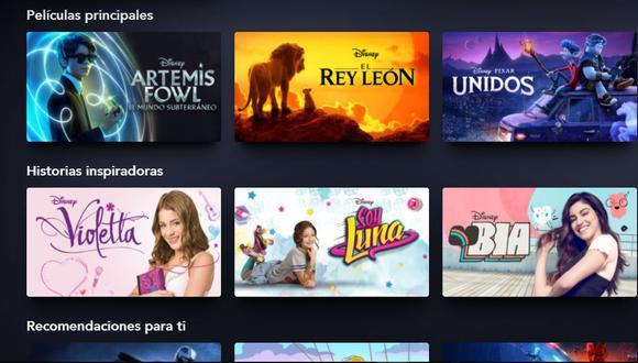 Así es la interfaz de Disney Plus, disponible desde el 17 de noviembre en América Latina (Foto: Disney+)