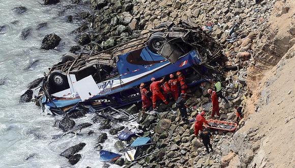 El bus de la empresa San Martín cayó a un abismo en Pasamayo y 52 pasajeros murieron. A los bomberos les tomó tres días recuperar los cuerpos. (Dante Piaggio/Archivo)
