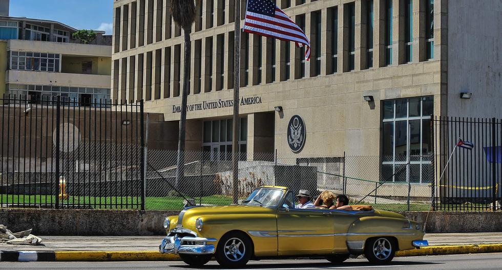 Vista del frontis de la Embajada de Estados Unidos en La Habana, Cuba. AFP