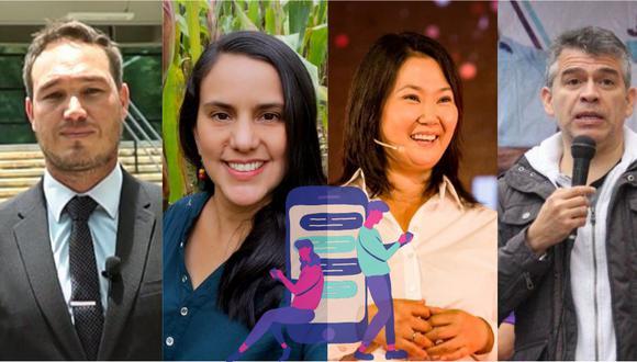 George Forsyth, Verónika Mendoza, Keiko Fujimori, Julio Guzmán y otros candidatos presidenciales están apostando por iniciativas virtuales para interactuar con el electorado, ante las restricciones por la pandemia del coronavirus. (Fotos: Facebook / El Comercio)