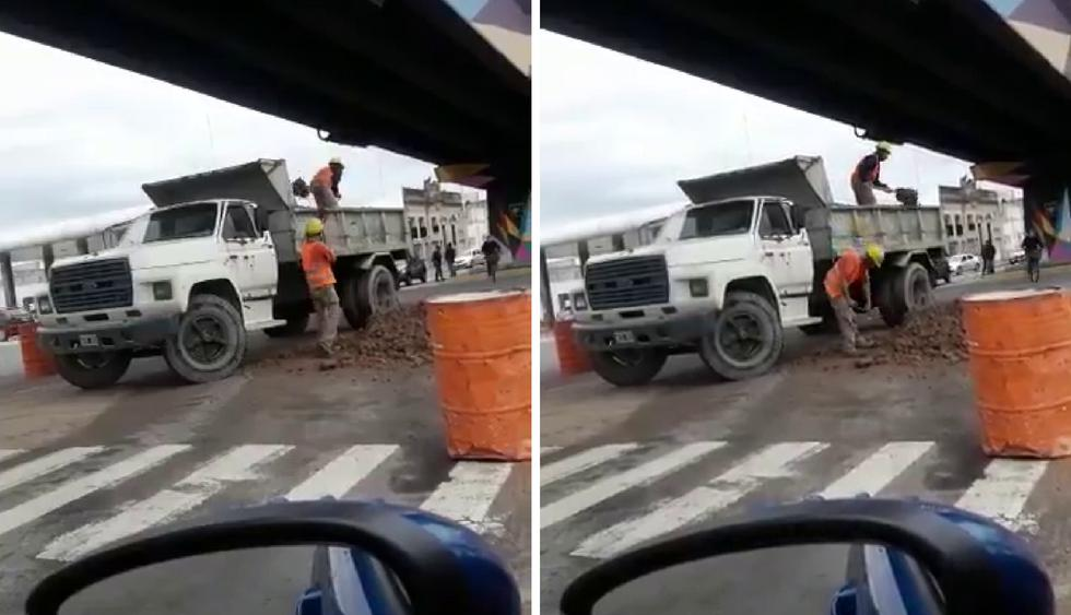 Dos obreros en Argentina protagonizan una divertida escena que se hizo viral en YouTube. (Crédito: @loqmehacereir en Twitter)