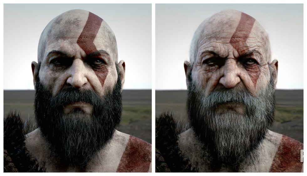 Kratos de God of War con el efecto de envejecimiento. (Captura de pantalla)