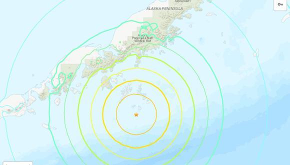 El estado de Alaska fue puesto en alerta de tsunami este lunes, luego de que se registrara un terremoto de magnitud 7,4. (UGSS).