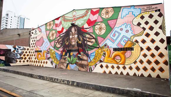 El mural que evoca a las culturas Chavín, Paracas, Wari y Mochica y que purifica el aire de Lima. FOTO: Converse.
