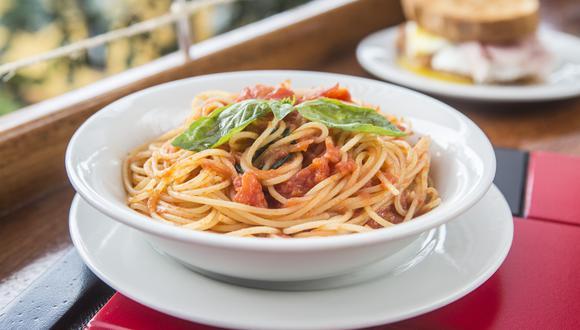 Espagueti en salsa roja hecha solo con tomate, aceite de oliva y albahaca. Una de las 16 alternativas de pastas que tiene el menú. (Fotos: Maricé Castañeda)