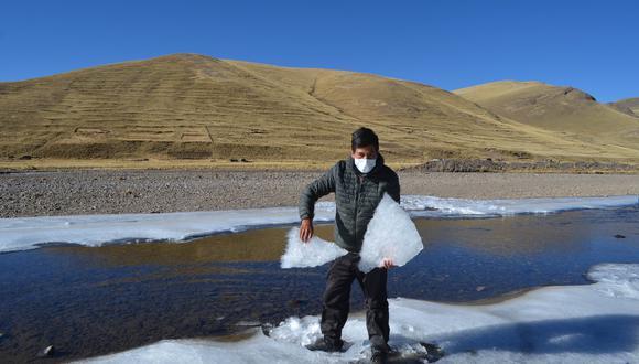 El intenso frío por debajo de los cero grados es recurrente en todo el altiplano. En el mismo lago Titicaca la temperatura bajo de manera inusual este año según reportes del Senamhi. (Foto: Carlos Fernández/GEC)